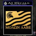 Molon Labe Flag Decal Sticker Gold Vinyl 120x120