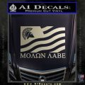 Molon Labe Flag Decal Sticker Metallic Silver Emblem 120x120