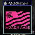 Molon Labe Flag Decal Sticker Pink Hot Vinyl 120x120