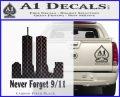 Never Forget 9 11 Decal Sticker Carbon FIber Black Vinyl 120x97