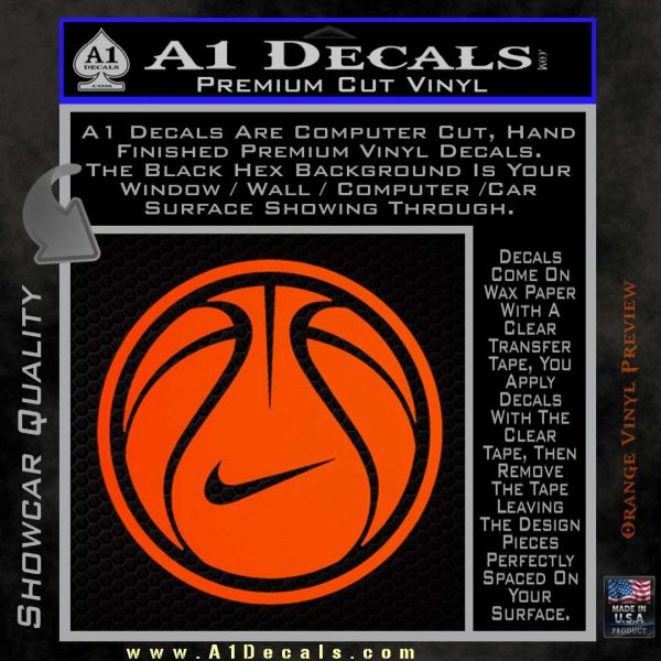 Nike basketball decal sticker orange emblem