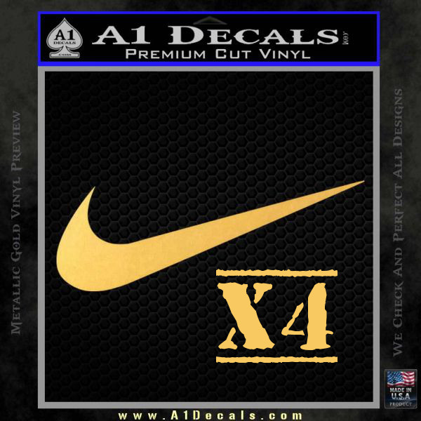 Nike Swoosh 4 Pack Decal Sticker Gold Vinyl