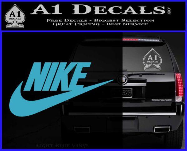 Nike Swoosh Decal Sticker Full Light Blue Vinyl