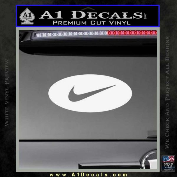 Nike Swoosh Decal Sticker Oval Gloss White Vinyl