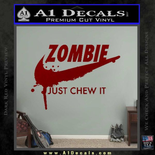 Nike Zombie Just Chew It Decal Sticker DRD Vinyl