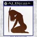 Ninja Girl Sword Decal Sticker Decal Sticker BROWN Vinyl 120x120