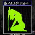Ninja Girl Sword Decal Sticker Decal Sticker Lime Green Vinyl 120x120
