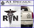 RN Nurse Caduceus Decal Sticker Carbon FIber Black Vinyl 120x97