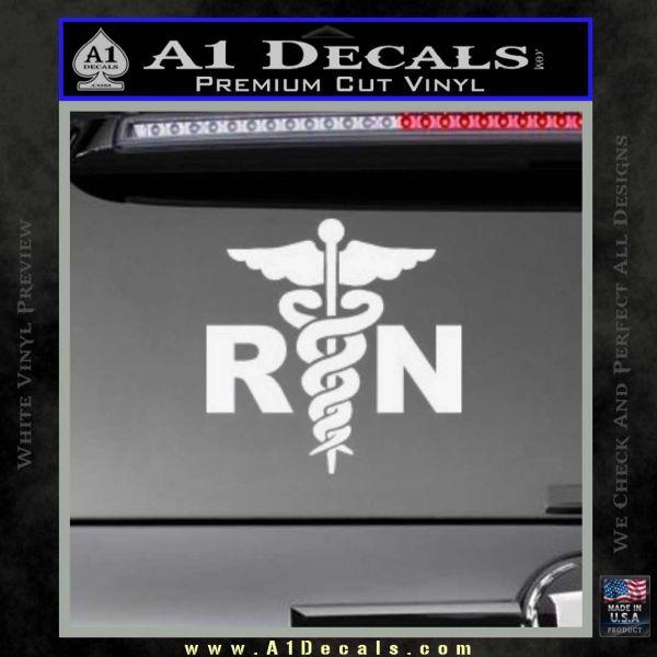 RN Nurse Caduceus Decal Sticker Gloss White Vinyl