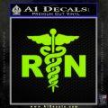RN Nurse Caduceus Decal Sticker Lime Green Vinyl 120x120