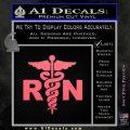 RN Nurse Caduceus Decal Sticker Pink Emblem 120x120