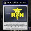 RN Nurse Caduceus Decal Sticker Yellow Laptop 120x120