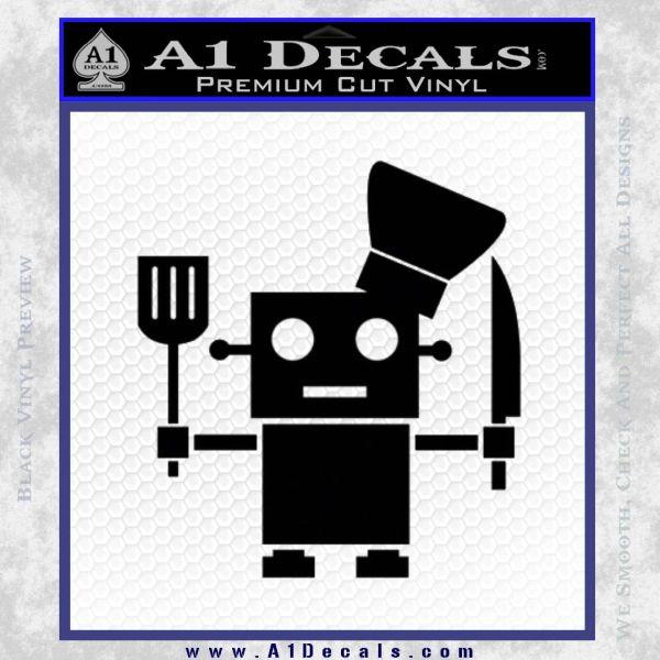 Robot Chef Cook D1 Decal Sticker Black Vinyl