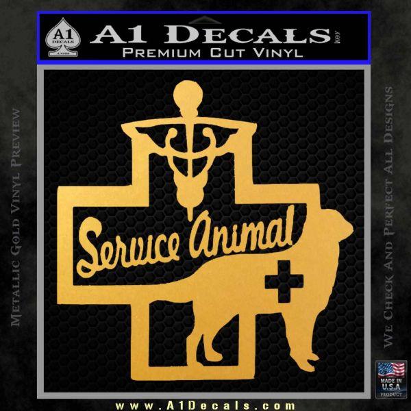 Service Dog Decal Sticker D4 Gold Vinyl