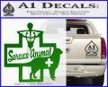 Service Dog Decal Sticker D4 Green Vinyl Logo 120x97