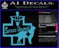 Service Dog Decal Sticker D4 Light Blue Vinyl 120x97