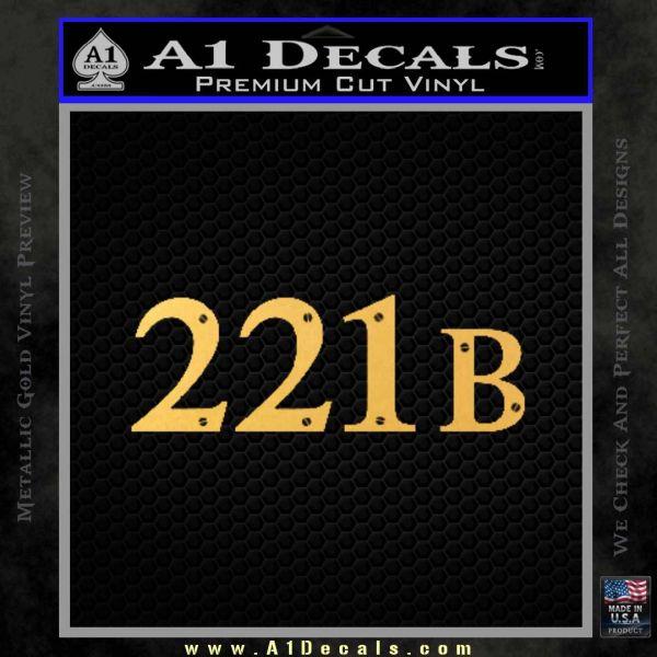 Sherlock Holmes Decal 221B Sticker Gold Vinyl