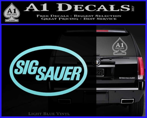 Sig sauer decal sticker oval light blue vinyl 120x97