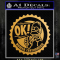 Simpsons Homer Certimafied Decal Sticker Gold Metallic Vinyl 120x120