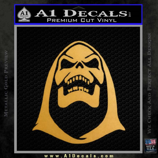 Skeletor Decal Sticker He Man Gold Metallic Vinyl