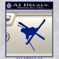 Skiing Iron Cross Silhouette D1 Decal Sticker Blue Vinyl 120x120