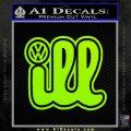 VW Ill Volkswagen D1 Decal Sticker Lime Green Vinyl 120x120