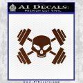 Weightlifting Decal Dumbells Skull BROWN Vinyl 120x120