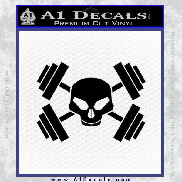 Weightlifting Decal Dumbells Skull Black Vinyl
