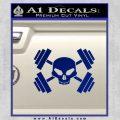 Weightlifting Decal Dumbells Skull Blue Vinyl 120x120