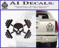 Weightlifting Decal Dumbells Skull Carbon FIber Black Vinyl 120x97