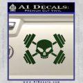 Weightlifting Decal Dumbells Skull Dark Green Vinyl 120x120