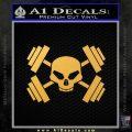 Weightlifting Decal Dumbells Skull Gold Vinyl 120x120