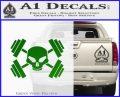 Weightlifting Decal Dumbells Skull Green Vinyl Logo 120x97
