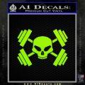 Weightlifting Decal Dumbells Skull Lime Green Vinyl 120x120