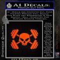 Weightlifting Decal Dumbells Skull Orange Emblem 120x120