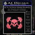 Weightlifting Decal Dumbells Skull Pink Emblem 120x120