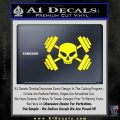Weightlifting Decal Dumbells Skull Yellow Laptop 120x120