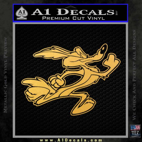 Wile e coyote running decal sticker gold vinyl