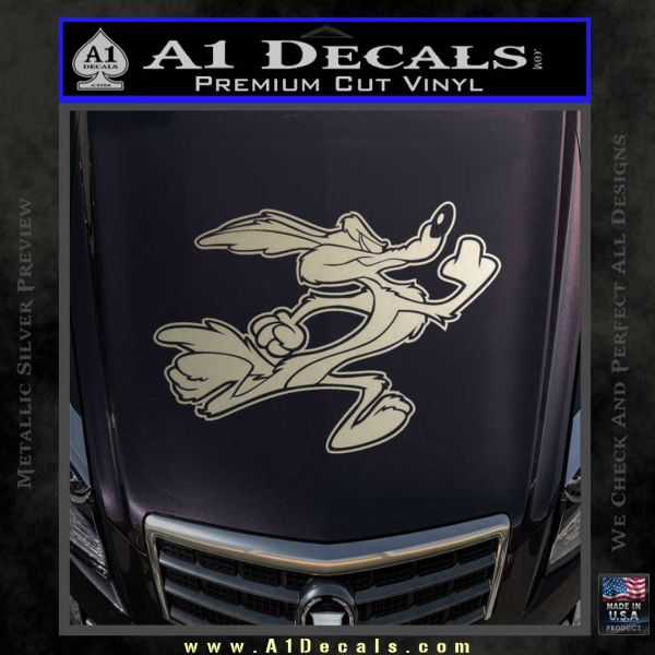 Wile e coyote running decal sticker metallic silver emblem 120x120