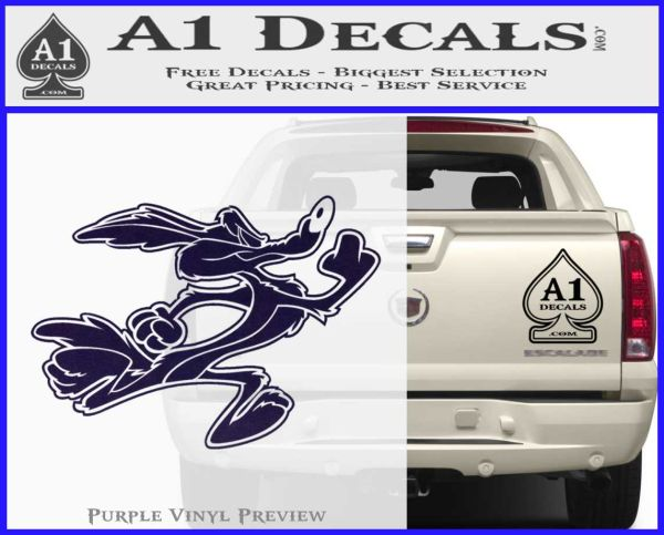 Wile e coyote running decal sticker purpleemblem logo 120x97