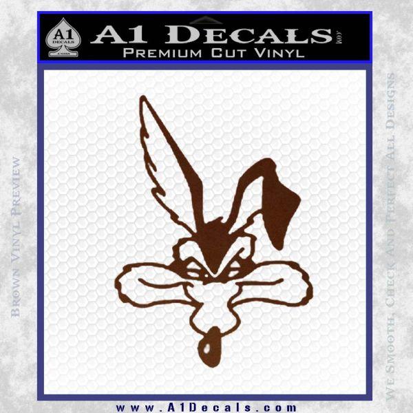 Wiley Coyote Decal Sticker Looney Toons BROWN Vinyl
