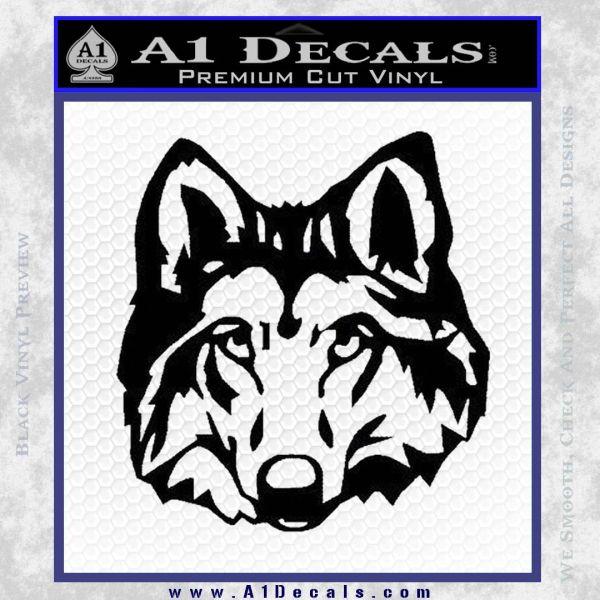 Wolf Head Decal Sticker DF Black Vinyl