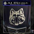 Wolf Head Decal Sticker DF Metallic Silver Emblem 120x120