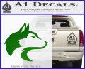 Wolf Head Decal Sticker Smooth Green Vinyl Logo 120x97