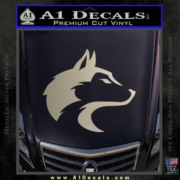 Wolf Head Decal Sticker Smooth Metallic Silver Emblem