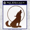 Wolf Howling At Moon Decal Sticker BROWN Vinyl 120x120