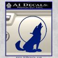 Wolf Howling At Moon Decal Sticker Blue Vinyl 120x120