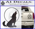 Wolf Howling At Moon Decal Sticker Carbon FIber Black Vinyl 120x97