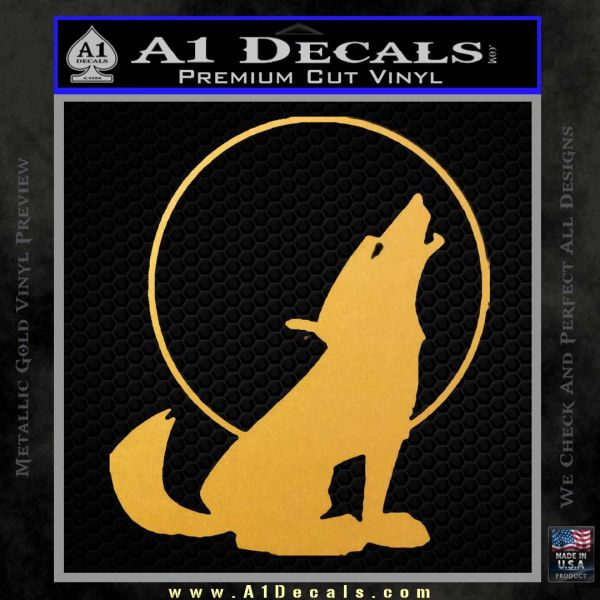 Wolf Howling At Moon Decal Sticker Gold Vinyl