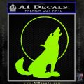 Wolf Howling At Moon Decal Sticker Lime Green Vinyl 120x120